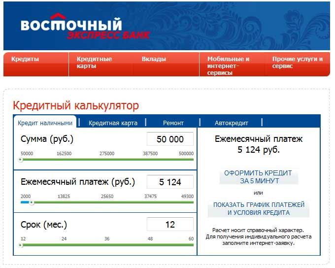 восточный банк внести платеж по кредиту без поручителей и справках о доходах