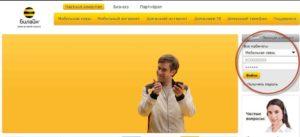 Главная страница сайта Билайн