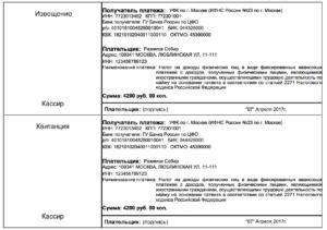 Квитанция на оплату патента