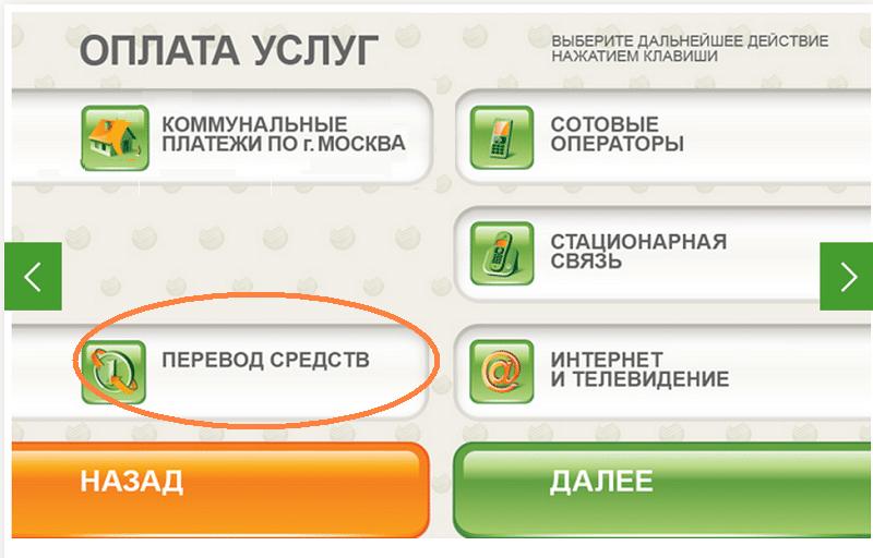 Перевод через банкомат Сбербанк